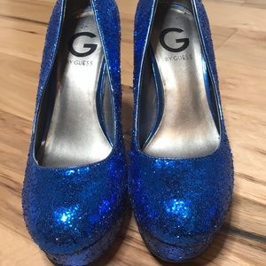 G by Guess blue glitter heels Sz 7